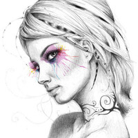 Dreams (Beautiful Girl) Art Print by Olechka