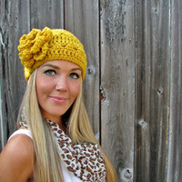 Mustard Headband/Headwrap/Earwarmers With Flower and Natural Vegan Coconut Shell Buttons - Adjustable