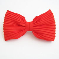 Orange bow hair clip, oversize bow clip