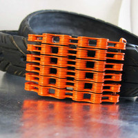 Recycled Bike Chain Belt Buckle - Orange Finish
