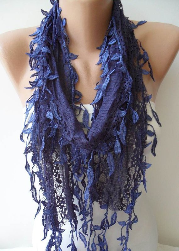 Dark Blue Laced Scarf with Trim Edge  -- Speacial Laced Fabric.....