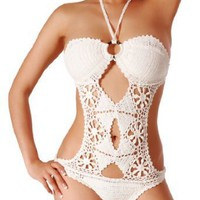 Cloris Murphy Handmade Crochet Scrunch Butt One Piece Monokini Swimwear BM04WT One Size White