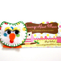 Owl Magnet Felt Kitchen Refrigerator Locker Magnet Polka Dots Housewarming Mint, Lime Green, Red, Turquoise, Yellow, Orange and Green
