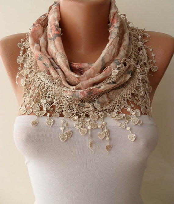 Salmon - Beige  Scarf with Trim Edge --- Flowered Fabric