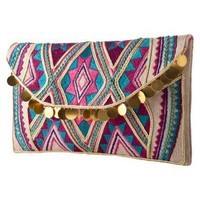 Embroidered Dangle Clutch Multicolor