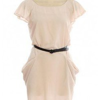 IVORY BELTED WOVEN DRESS WITH ZIPPER BACK CLOSURE @ KiwiLook fashion