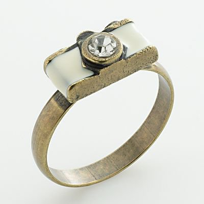 LC Lauren Conrad Gold Tone Simulated Crystal Camera Ring