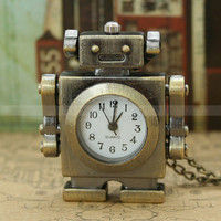 Vintage robot pocket watch necklace with smile face charm