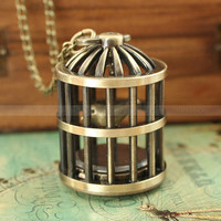 Vintage retro bird cage pocket watch necklace with antique bronze bird cage and bird charm