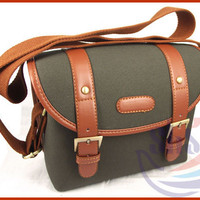 PU Leather & Nylon Shoulder Camera Case Messenger Satchel Case for DSLR Olive