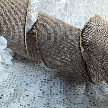Burlap Ribbon Burlap Pew Bow Burlap Wedding Decoration Burlap Bow Wired Burlap Ribbon DIY Decoration Rustic Wedding Ribbon 20 Yards