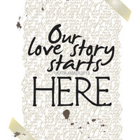 OUR LOVE STORY print. Love Wall Art. Romantic Gift Idea. Wedding Keepsake. Home Decor. Housewarming.