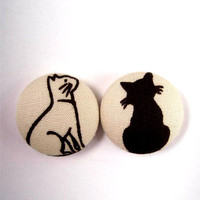 Medium Button Earrings/ Clip on earrings- Cute kitties