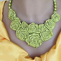 Lime Green Flower Bouquet Chick Necklace by mediterraneangirl