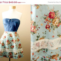 SALE End of Summer // Floral Lace Dress, Strapless, Sundress, with Denim, Corset, Style Bodice