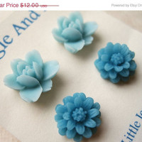 Blue Flower Earrings Set. Blue Daisy Earrings, Pastel Blue Lotus Flowers, Blue Earrings, Spring Earrings, Flower Stud Earrings. FSE2.