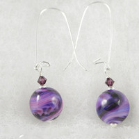 Purple Swirl Lampwork Glass Bead Earrings made with Sterling Silver and Purple Swarovski Crystals