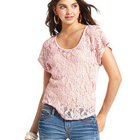 Eyeshadow Top, Short Sleeve Lace - Juniors SALE & CLEARANCE - Macy's
