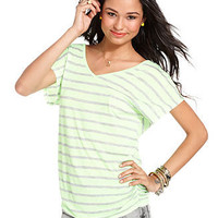 Pink Rose Top, Short Sleeve Ruched Striped - Juniors SALE &amp; CLEARANCE - Macy&#x27;s