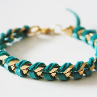 Gold Chain and Turquoise Leather Wrap Bracelet