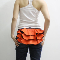 Christmas in July Sale - KINIES Ruffled Waist Purse in Orange - Fanny Pack / Hip Bag