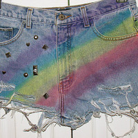 Rainbow mid-waist denim shorts