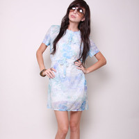 Vintage Mini Dress 60s Mod Hipster Light Blue by NullifyAnew