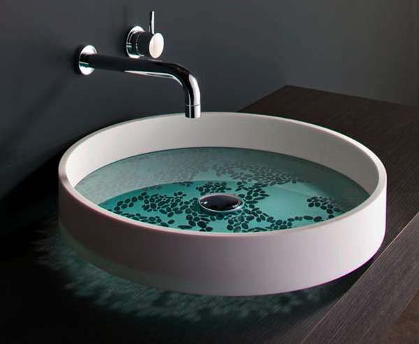 Serene Washbasin Design Etched by Hand: Motif Basin