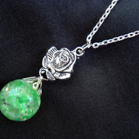 Rose Green Crackle Glass Nature Boho Chain Necklace