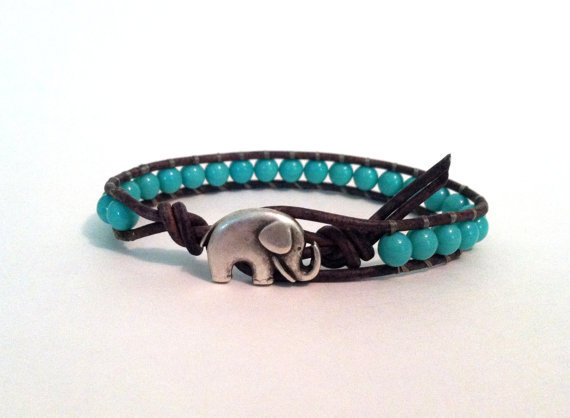 Elephant Bracelet, Good Luck Charm, Turquoise Czech Glass Beads, Chan Luu Style