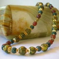Hand Painted Brown and Green Neckalce
