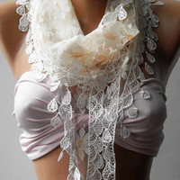 Elegance  Shawl ---- Scarf with Lacy Edge----