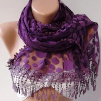 Purple  -- Elegance  Shawl -- Scarf with Lacy Edge--