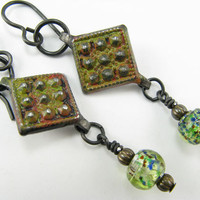 Hand painted Rust diamond shaped metal dangle earrings, Rust Green earrings, Arte Metal