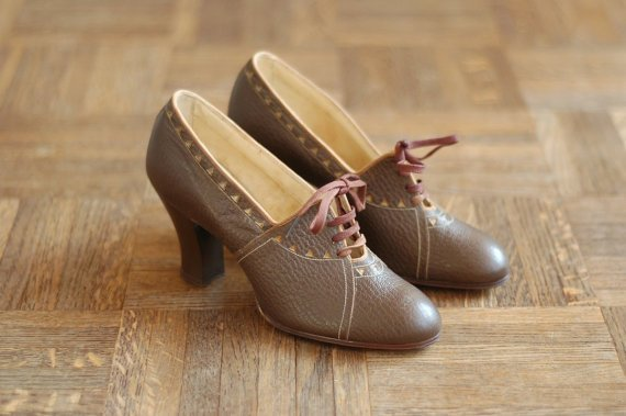 vintage NOS 1930s shoes / 30s brown leather oxfords / size 5
