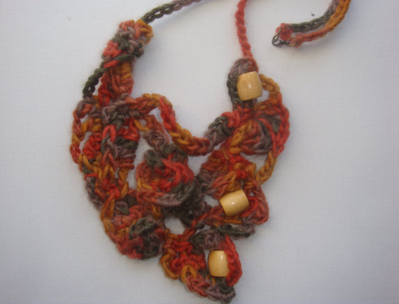 Bib Necklace - Artistic Free Form Crochet from ...