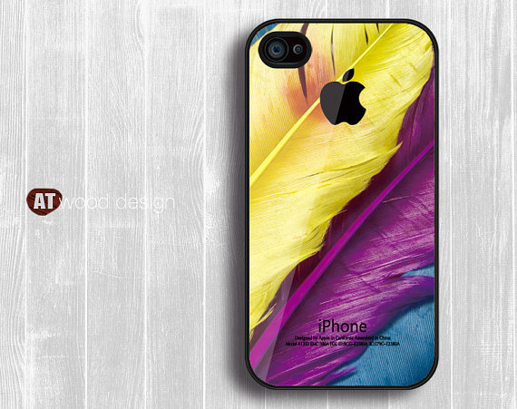 iphone 4 case iphone 4s case iphone 4 cover colorized feather  Iphone Logo design printing
