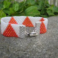 Bracelet of Orange and White Triangles