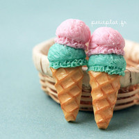Ice Cream Earrings - Double Scoop of soft Pastel Tones -  IceCream Collection - Custom Gift