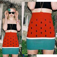 SALE Watermelon bodycon skirt XS S M by HereandThereVintage