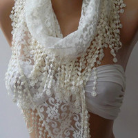 Pearl White - Elegance  Shawl - Scarf with Lacy Edge--