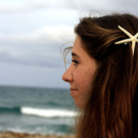 White Skinny Starfish Barrette- Medium