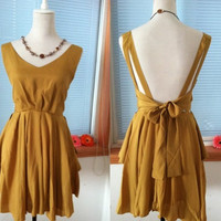 Vintage Cocktail Chiffon Knee Sundress Summer Dress Beach Dress Sleevesless Backless Open Back Prom Party Bridesmaid  Dress Bow Sash Yellow