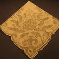 Vintage Ladies Wedding Hankie Cut Work Pearl Grey Embroidery
