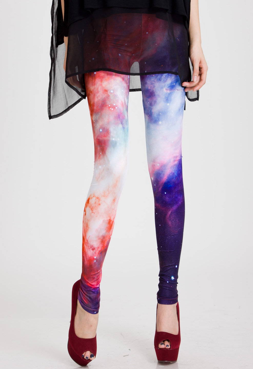 Galaxy Print Leggings in Red - Tights & from Chicwish   My