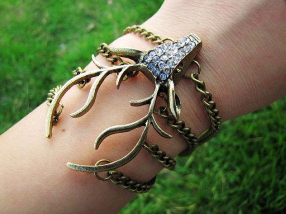 Vintage Style Antique Bronze Deer Antler Pendant Women Jewelry Bangle Chain Cuff Bracelet  438A