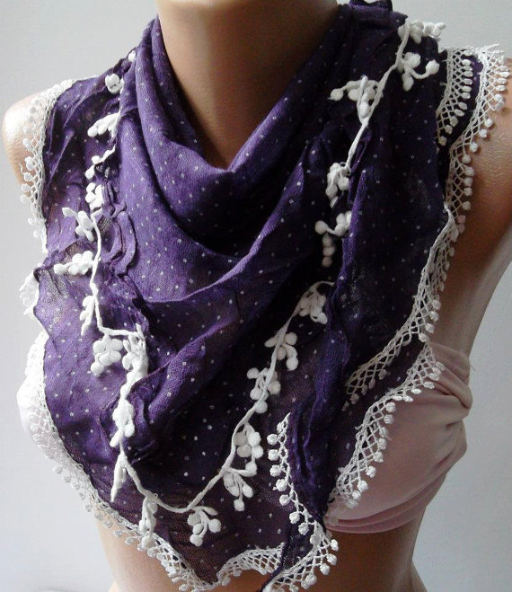 Purple - Elegance Shawl / Scarf--