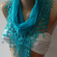 Blue - Cotton Shawl / Elegance Shawl / Scarf with Lace Edge