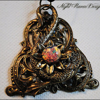 Flower Burst Koi --- Antique Brass & Pink Fire Opal Pendant
