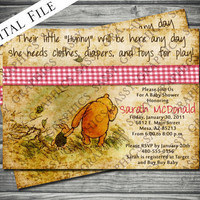 Vintage Winnie the Pooh Baby Shower Invitation